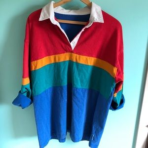 VTG 80s Rainbow Color Block Oversized Rugby Top